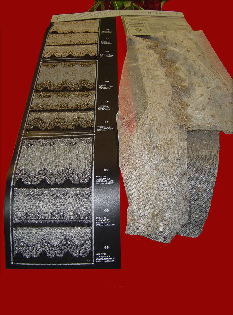Alencon: collezione di Tulle e Merletti. Sette varianti tinto in filo e 2 metallizzati